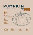nutrition facts of pumpkin hand draw sketch vector image vector image