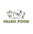 paleo food with mammoth and cavemans vector image