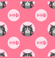 pattern with cute cat and fish bone vector image vector image
