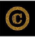 premium elegant capital letter c in a round frame vector image