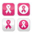Ribbon symbols for breast cancer awareness buttons vector image vector image