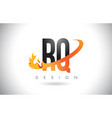 rq r q letter logo with fire flames design and vector image vector image