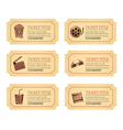 Set cinema movie tickets Old vintage tickets vector image