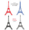set eiffel tower landmark paris vector image