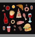 set fast food such as hamburger donuts and vector image