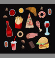 set fast food such as hamburger donuts vector image vector image