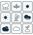 set of 9 world icons includes sun sunshine vector image vector image