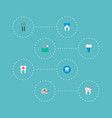 set of dental icons flat style symbols with stamp vector image
