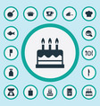 set of simple kitchen icons vector image vector image