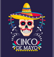 skull decoration with hat to mexican event vector image vector image