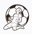 soccer player winner action outline vector image