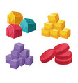 square and circle shape colorful object set on vector image vector image