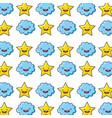 star and cloud kawaii characters pattern vector image vector image