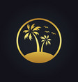 sunset palm tree beach tropic gold logo