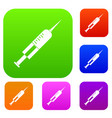 syringe with needle set color collection vector image vector image