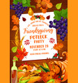 thanksgiving friendsgiving potluck with cornucopia vector image vector image