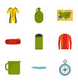 tourism icon set flat style vector image vector image