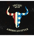 Vintage label with silhouette of bull head vector image vector image