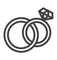 wedding rings line icon valentines day vector image vector image
