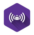 white wifi locked sign icon isolated with long vector image vector image