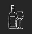 wine chalk white icon on black background vector image