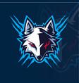 wolf head esport mascot logo vector image vector image