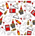Restaurant service seamless pattern background vector image