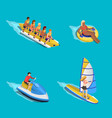 water riding people set vector image