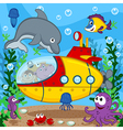 animals on submarine vector image