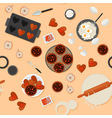 Bakery Sweets Seamless Pattern with Ingredients vector image