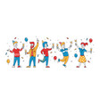birthday party group cheerful drunk people vector image