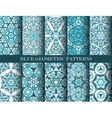 Blue geometric patterns collection vector image vector image