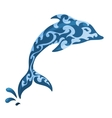 Blue ornamental dolphin vector image vector image