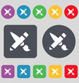 Brush Icon sign A set of 12 colored buttons Flat vector image