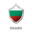 bulgaria flag on metal shiny shield vector image