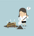 businesswoman digging ground for a treasure vector image vector image