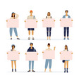 cartoon characters standing young women and men vector image