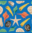 cartoon sea shells pattern or background vector image vector image