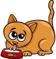 cat drinking milk cartoon vector image