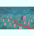 cemetery night flat composition vector image