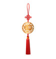 chinese golden pendant with pig and luck knot vector image vector image