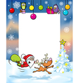 christmas frame with funny santa claus and vector image vector image