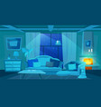classic living room interior flat night time vector image vector image