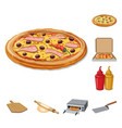 design of pizza and food sign collection vector image vector image