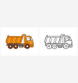 dump truck coloring page dumper truck side view vector image vector image
