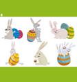 easter bunnies characters set cartoon vector image