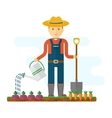 farmer with shovel in garden vector image vector image