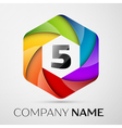 Five number colorful logo in the hexagonal on vector image vector image