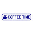 grunge blue coffee time word with cup icon square vector image