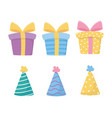 happy birthday gift boxes party hats decoration vector image vector image